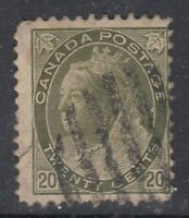 "Canada Scott #84  20 cent  olive green  ""QV Numeral""  *"