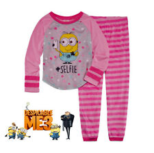 """NWT Despicable Me Minions Girls Pink Striped """"#Selfie"""" Pajama Set(Size 6)NEW"""