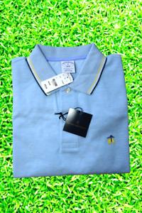 Brooks Brothers Logo Men's Light Blue Tipped Collar Slim Fit Polo Shirt Medium