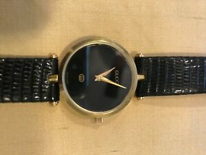 Gucci watch: women's vintage 1980's, black band, excellent condition