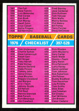 1976 TOPPS OPC O PEE CHEE BASEBALL #526 CHECKLIST UNMARKED NM 4rd 397-528 CARD
