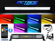 """22"""" 5D CREE LED RGB Light Bar Multi-Color Changing Offroad Flash Bluetooth Jeep"""