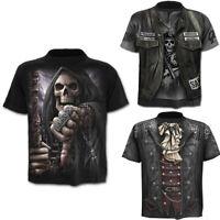 Punk Men's Funny Skull 3D Print T-Shirt Summer Casual Short Sleeve Top Basic Tee
