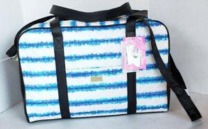 Betsey Johnson Blue White Stripe Tie Dye Print Weekender Overnight Bag Luggage