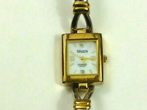 "Gruen Diamond Quartz Gold/Silver Tone Ladies Watch 6.5"" New Battery"