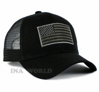 USA American Flag Hat Mesh Tactical Operator Snapback Baseball Cap- Black