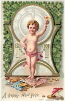 1907 VINTAGE TUCK'S EMBOSSED CUPID CHAMPAGNE MONEY POSTCARD sent from Newark NJ
