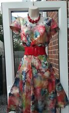 beautiful floral fit/flare size 14 dress