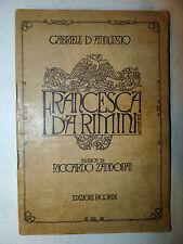 Libretto Teatro Opera - Zandonai / D'Annunzio: Francesca da Rimini 1915 Ricordi
