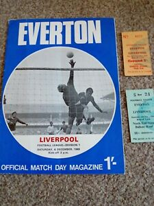 Everton v Liverpool 6.12.1969 - with 2 ticket stubs