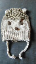 Zara 100%Cotton Knitted Animal Face Trapper Style Hat 6m Brown Mix BNWoT