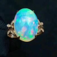 Natural Welo Opal Rainbow Multicolour 925 Sterling Silver Weeding Ring Women