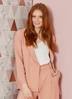 Capsule Relaxed Fit Double Breasted Jacket Pink UK 10 EU 38 LN097 EE 07