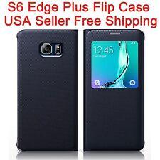 Flip Case for Samsung Galaxy S6 Edge Plus Edge+ G928 Plastic Screen View Black