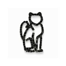 .925 Sterling Silver Black CZ with Black Rhodium Plating Cat Slide Charm Pendant