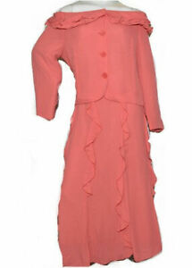 Masseys Women's Double Flounce Jacket and Skirt Suit in Coral - 16W