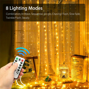 300 LED USB Curtain Fairy Lights String Hanging Wall Lights Wedding Party Remote