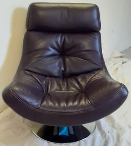 Fantastic Aubergine Coloured Leather Retro Swivel Chair - A Great Gaming Chair!