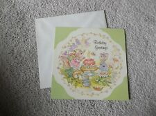 New listing Vintage Greeting Card ~Anne Liese 1986 Squirrel, Possum, Mouse, Bee B-Day Cake