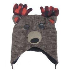 Crochet Knit Beanie Deer Plaid Antler Tassel Hat Toque Skull Brown Peruvian New