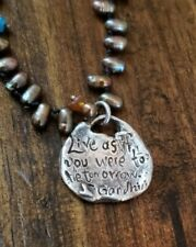 Artisan Handcrafted  Sterling Silver and pearls Gandhi's quote  Pendant Necklace