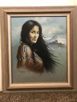 Z. GARCIA MASTERWORK VTG. OIL PAINTING NATIVE AMERICAN SUBJECT ON CANVAS