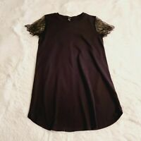Forever 21 Lace Sleeve Tunic Top Black Women's Size Small EUC