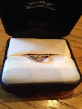 NIB Gorgeous Harley Davidson 10 K Yellow Gold w4 Round Diamonds Ring Size 7