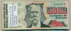 ARGENTINA BUNDLE 15 NOTES 500000 AUSTRALES (1990-91) P 338 F/AVF
