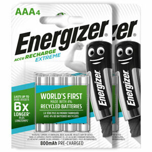 Energizer Recharge Extreme AAA size batteries HR03 800mAh 1.2V Retail Packaging