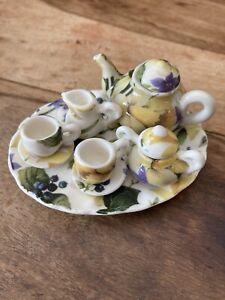 Doll's House Miniature Tea Set Floral Good Condition