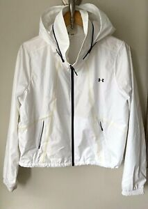 WOMEN'S Under Armour Sz Large Full Zip Windbreaker Jacket White Black