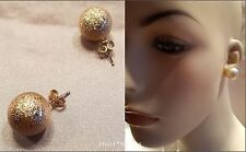 GOLD BALL GLITTER INLAY LARGE 18MM STUD EARRINGS NEW USA SELLER