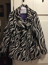 Womens Rue21 Double Breasted Lined  Zebra Print Coat-L