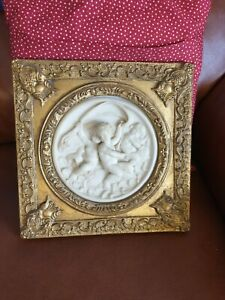 Ornate Plaster Cherubs Angel Wall Picture Hanging Plaque/Framed