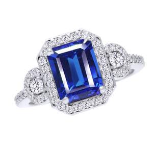 3Ct Emerald & Round Cut Blue Sapphire & Natural Diamond 10K White Gold Halo Ring