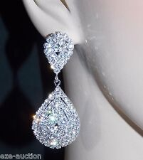 WEDDING BRIDAL CLEAR CRYSTAL SILVER TONE DINGLE TEARDROP EARRINGS /248