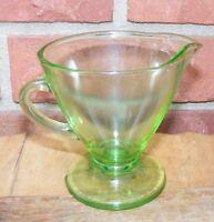 Vintage Green Vaseline Creamer Depression Glass