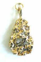 Pendant Gold Plated Nugget Charm Cubic Zirconia 1/2 OZ For Necklace Chain Gift
