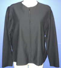 Eileen Fisher Size S Small Top Jacket Black Long Sleeves Front Zip Viscose Blend