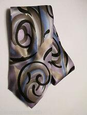 J. Garcia Men's Tie Abstract Neckties 100% Silk Blue Silver Gray Black
