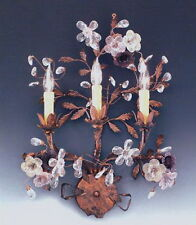Mediterranean Patina And Crystal Wall Sconce