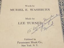 NIGHT TIME - Autographed Sheet Music - MURIEL E. WASHBURN & Lee Turner - SIGNED