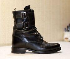 1500$ PRADA black lace up mid calf buckle flap moto combat boots 36-37 us6 uk3.5