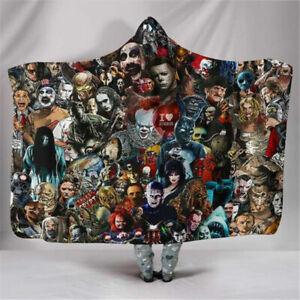 Hooded Blanket Horror Movie 3D Soft Sherpa Fleece Wearable Throw Poncho Blanket