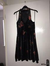 New Women's New Look Halter Neck Skater Style Velvet Black & Flower Dress - 12