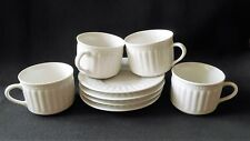 Majesticware Oneida Athena 4 Coffee Cups & Saucers White Embossed Fine China New