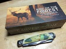 """Rough Rider King of the Forest Whitetail Carved Bone 4 1/8"""" Trapper RR1557"""