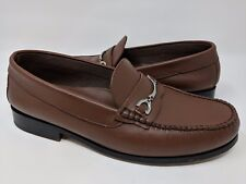 HITCHCOCK MENS BROWN LEATHER MOC TOE LOAFER HORSEBIT SHOES SIZE 9 5E EXTRA WIDE