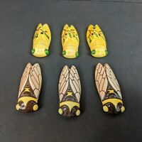 Louis Sicard Signed Ceramic Locust Knife Rests, set of 6, 3 Floral & 3 Realistic